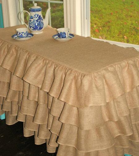 تزیین رومیزی با تور استفاده از گونی در تزئینات