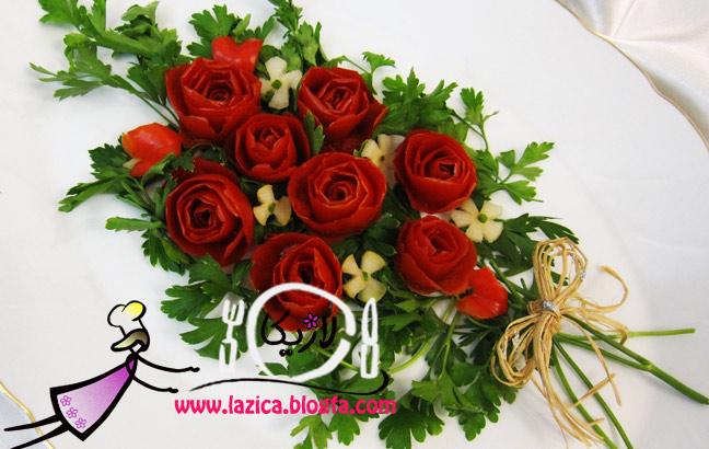 تزیین گوجه فرنگی به شکل گل