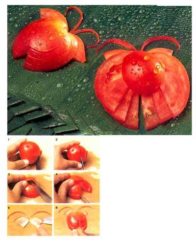 درست کردن پروانه،تزیین سالاد،تزیین گوجه،هنر در خانه