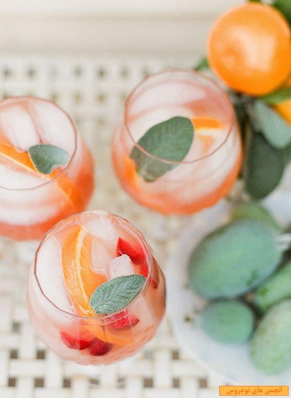 تزیین آب میوه ,تزیین نوشیدنی های خنک ,. تزیین نوشیدنی, نوشیدنی های خنک , سفره آرایی ,میوه آرایی, میز آرایی, ایران بانو