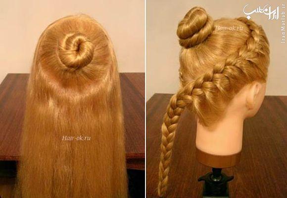آموزش تصویری شینیون مو،شینیون مو،مدل های جدید شینیون مو،شنیون مو،شنیون موی زنانه،مدل شنیون جدید مو, بافت مو , آموزش بافت مو