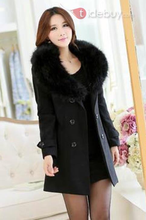 New Pure Color Long Sleeves Double-Breasted Overcoat