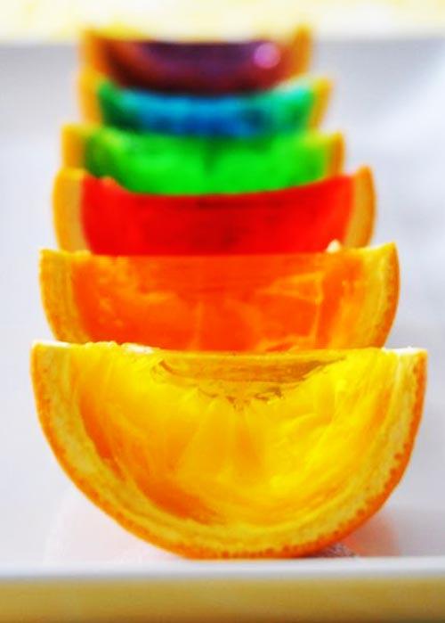 طرز تهیه پرتقال ژله ای در رنگهای مختلف