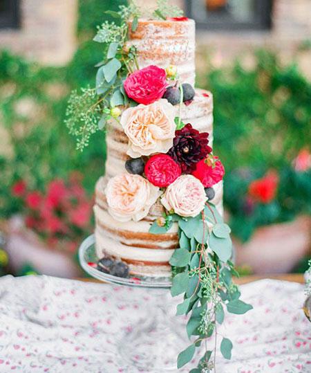 زیباترین مدل های تزیین کیک با گل های طبیعی،مدل های تزیین کیک عروسی با گل های طبیعی