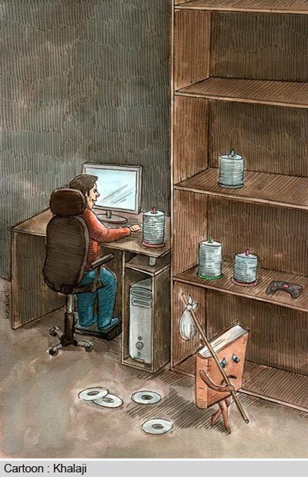کاریکاتور کتاب و کتابخوانی, کاریکاتور و تصاویر طنز