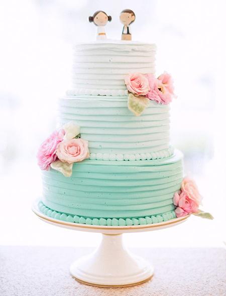 کیک عروسی رنگ سال 2016,کیک عروسی به رنگ آبی